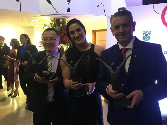 Tsutsui, Mayra e Kiko, os homenageados da noite pelo COB